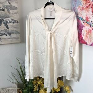 Laundry By Shelli Segal Marshmallow Silky Blouse